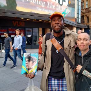 Micky and Chris, charming homeless guys, Leicester Square